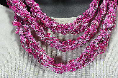 Meo Crocheted Multi-Color Pink Silver Skinny Scarf Sash Headband Neck Wrap Knit