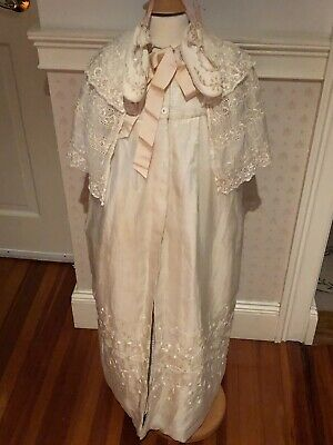 Exquisite Vintage Victorian Christening Baptismal Gown Style Coat + Baby Shoes