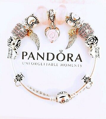 Authentic Pandora Bracelet Silver Bangle with Pink Love Mom European Charms