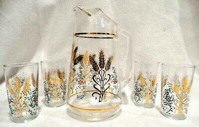1960's Mid-Century 5 Piece Beverage Set with Pitcher & Four 8 oz. Tumblers