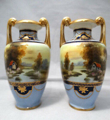 """Antique Pair of Noritake Opposing Hand Painted Gilded Moriage Scenic 8""""  Urns"""