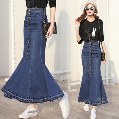 67a4d2b4e7 Women Stylish Denim Stretch Long Skirt Jeans Slim Fit High-waisted Mermaid  Dress
