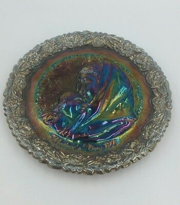 """VINTAGE Fenton  AMETHYST CARNIVAL GLASS *MOTHERS DAY 1971"""" PLATE"""
