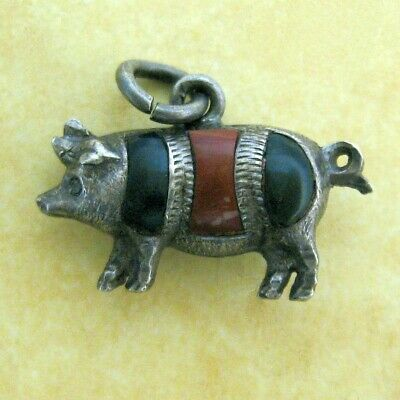 Antique Edwardian Sterling Silver Scottish Agate Lucky Pig Charm Full Hallmarks