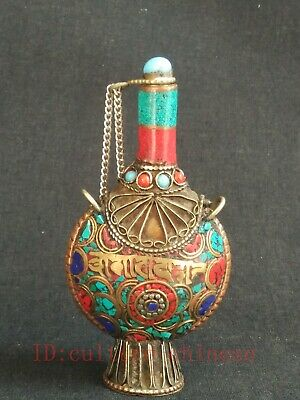 Collected Ancient China Tibet Copper Mosaic Turquoise Coral Snuff Bottles Gift