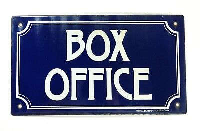 Vintage Lowell Sigmund BOX OFFICE Metal Enamel Blue Sign Theater Movie Tickets