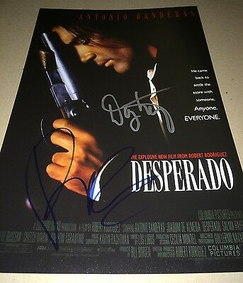 Robert Rodriguez And Danny Trejo Hand Signed DESPERADO 11 X 17 Photo IN PERSON
