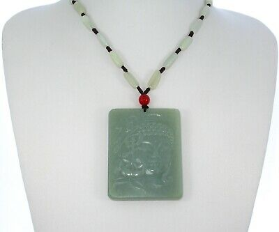 """2.3""""China Certified Nature Hetian Nephrite Jade Blessing Buddhist Plate Necklace"""