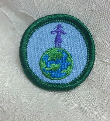 Retired Girl Scout 2001-11 Junior READY FOR TOMORROW BADGE Earth Globe Patch