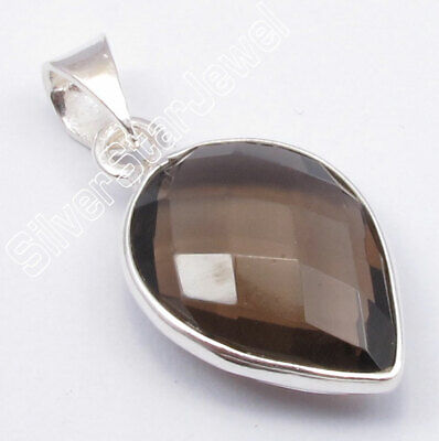 925 Solid Sterling Silver Brown Smoky Quartz Pendant Cheapest Shipping