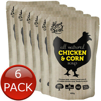6 x HART & SOUL CHICKEN & CORN SOUP CREAMY GLUTEN FREE READY TO EAT BULK 400g