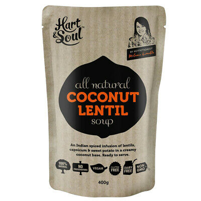 HART & SOUL COCONUT LENTIL SOUP ALL NATURAL GLUTEN FREE READY TO SERVE MEAL 400g