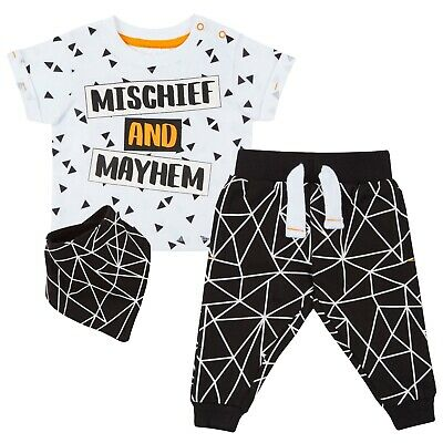 Baby Boys Outfit Short Sleeve T-Shirt Joggers Pants Bandana Bib 3pcs Set Toddler