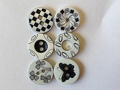 Black / White Pattern Designs Choice 12mm Pack of 6