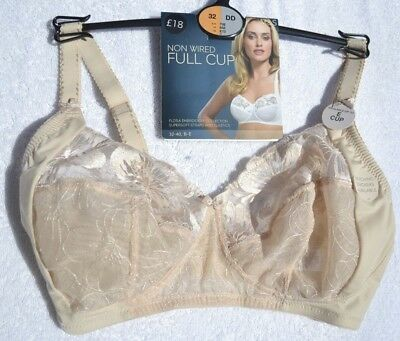 BNWT M/&S Non Wired Flora Embroidery Full Cup White Bra 32DD