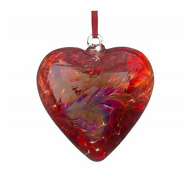 Sienna Glass Red 8cm Small Friendship Heart Hanging Hand Crafted Ornament Gift