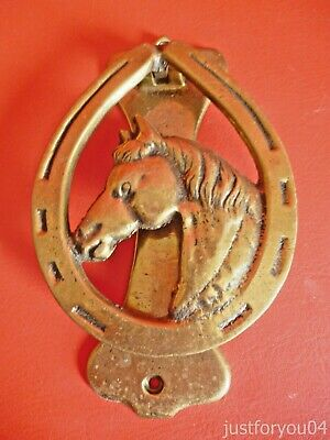 Vintage Lucky Horse shoe with horse's head Brass Door knocker - Good condition