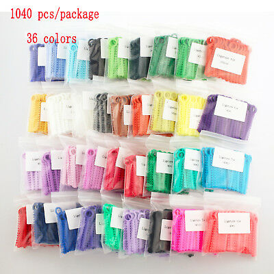 1040 Pcs Dental Orthodontic Ligature Tie Elastic Latex 36 Color Rubber Bands