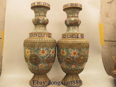 "24"" Chinese Bronze Cloisonne Enamel Eight treasures Bottle Pot Vase Jar Pair"