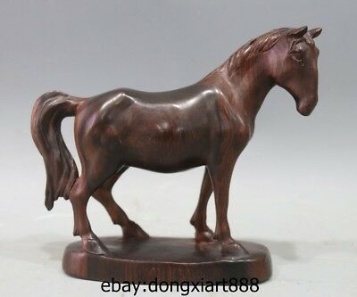 7 Chinese Zodiac Fengshui Animal Red Wood Handwork small equine Horse sculpture