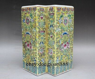 Chinese Wucai Porcelain Pottery Painted Peach Peony Flower Octagon Vase Pot Jug