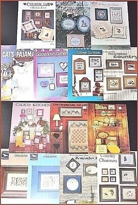14 Counted X Stitch Pattern Books Child & Country Animal Samplers,Pillows