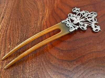 Sterling Silver and Bakelite? Hair Comb: Floral Openwork Design No Monograms