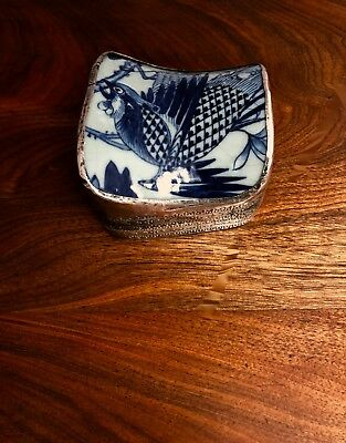- Unusual Chinese / Tibetan Silverplate Shard Box: Blue Porcelain Bird