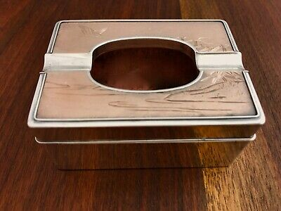 - BEAUTIFUL HATTORI KINTARO JAPANESE SILVER & MIXED METAL ASHTRAY c.1920 NO MONO