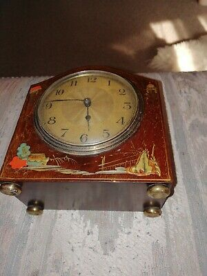 Vintage hand painted 8-Day Mantel Clock very rare example of this clock