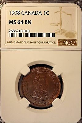 1908 Canada One Cent Large NGC MS 64 BN               ** FREE U.S. SHIPPING **