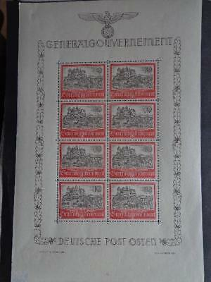 WWII Third Reich Occup. Generalgouvernement Rare Sheet Castlle  Nr 4