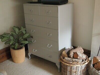 Chest of Drawers Painted F&B 'Worsted' Eggshell 'Queen Ann' Provencale Style