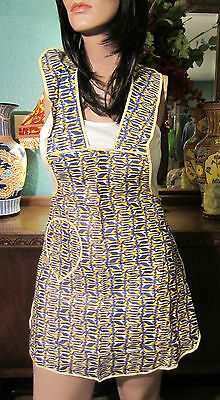 Fun Vtg,Abstract Giraffes feedsack 1950s Bib Pinafore Dress Apron,New with Tag
