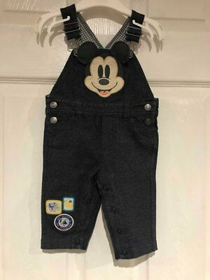 Baby boy micky mouse disney denim dungarees by disney age 3-6 months
