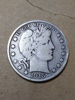 """1915 D 50C Barber Half Circulated  90 % Silver US Coin #205A """"TUCK""""  VF"""