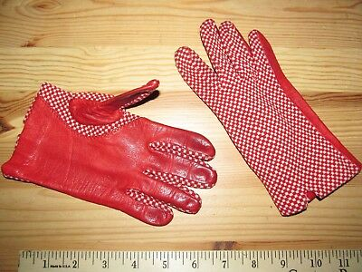 Vintage Red leather & red/white check pattern Driving gloves Women's S Small