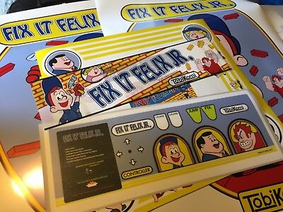 Fix It Felix Jr Arcade Art Kit: Side Art, Marquee, Bezel, Cpo