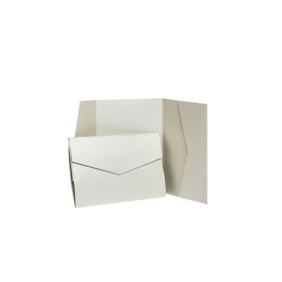 Champagne Pearlescent Pocketfold invitations with envelopes. Wedding Wallets