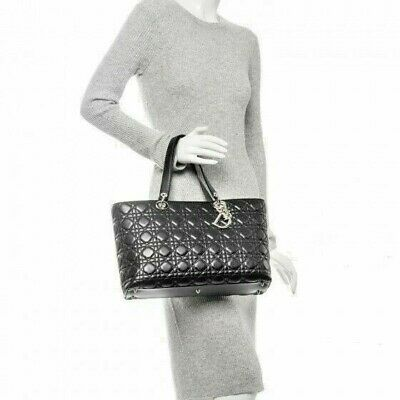 4b512304d9 Christian DIOR *Cannage Large Lady DIOR Quilted Tote Handbag * Black *  Leather *