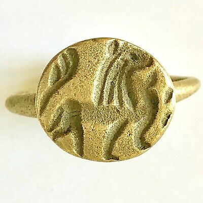 Ancient Hellenistic Seal Ring with Lion 150 BC. AE. H 3cm, in 21mm 7gr  RARE