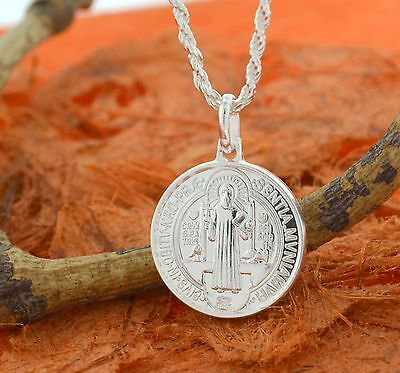 San Benito Round Medal -Sterling Silver- Protection,Catholic,St Benedict,Holy