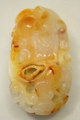 Vintage Chinese Natural Agate Onyx Carving Dragon Bat Statue 4'' x 2'' 325.4g