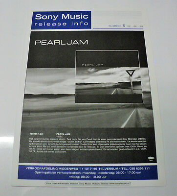 Pearl Jam Holland Dutch Promo 1998 Sony Music Release Folder Yield Netherlands