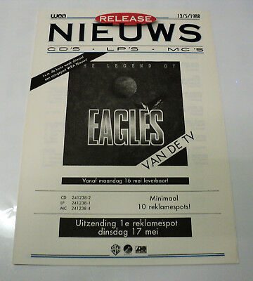 The Eagles Dutch Holland Wea 1988 Promo Release Info Folder The Legend Of