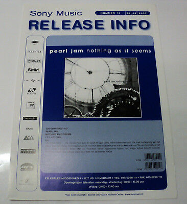 Pearl Jam Rare Dutch Sony 2000 Promo Folder Brochure For Nothing As It Seems