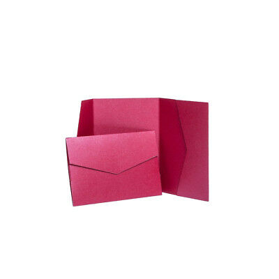 Cherry Red Pearlescent Pocketfold invitations with envelopes. Pocket Wallets