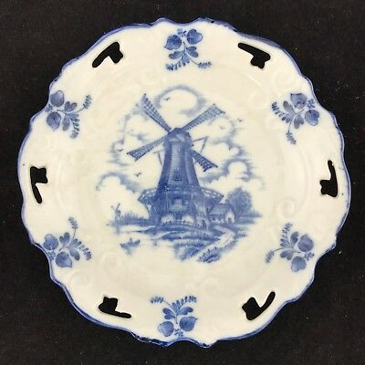 Vintage Blue & White Delft Ceramic Plate Hand Painted  Windmill 16Cm