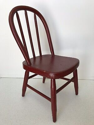 Antique Primitive 19th c Folk Art Red Painted Hoop Back Child's Doll Chair AAFA