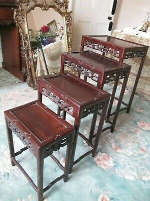Antique Chinese Nest of 4 Tables